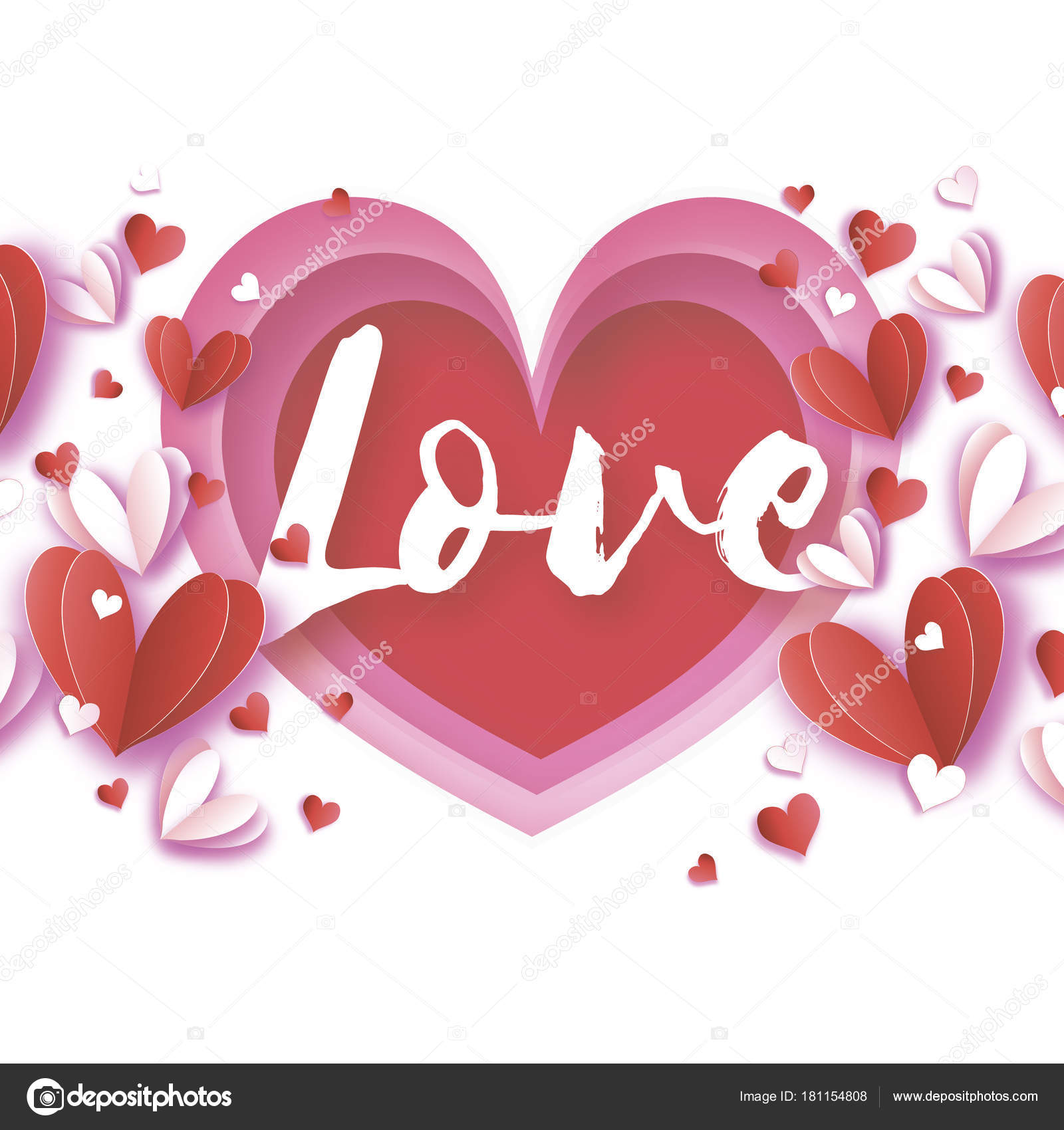 Love Text Origami Happy Valentine S Day Greetings Card Flying Love