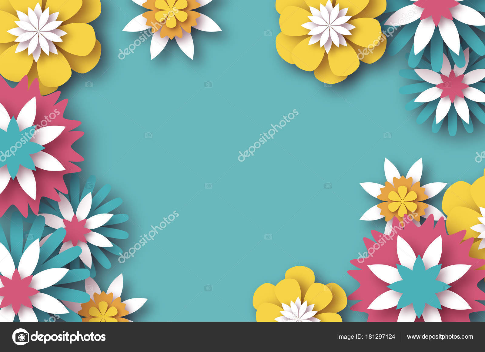 Paper Cut Floral Greeting Card Origami Flower Space For Text