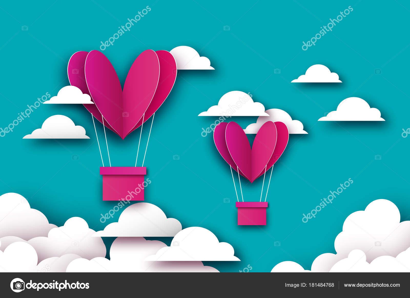 Heart shape pink hot air balloon flying love in paper cut style heart shape pink hot air balloon flying love in paper cut style origami valentine jeuxipadfo Choice Image
