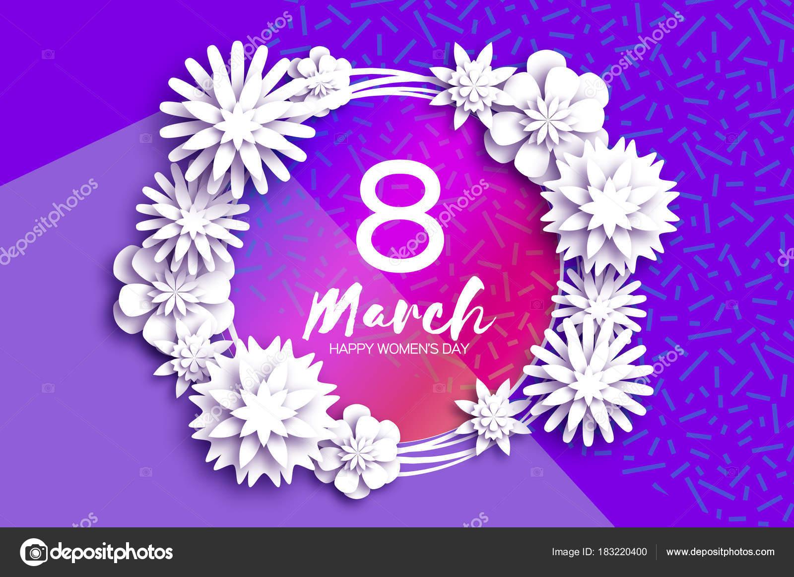 Eitelkeit Welche Blumen Blühen Im März Dekoration Von Bright White Origami Frühling Banner. Scherenschnitt Floral-grußkarte.