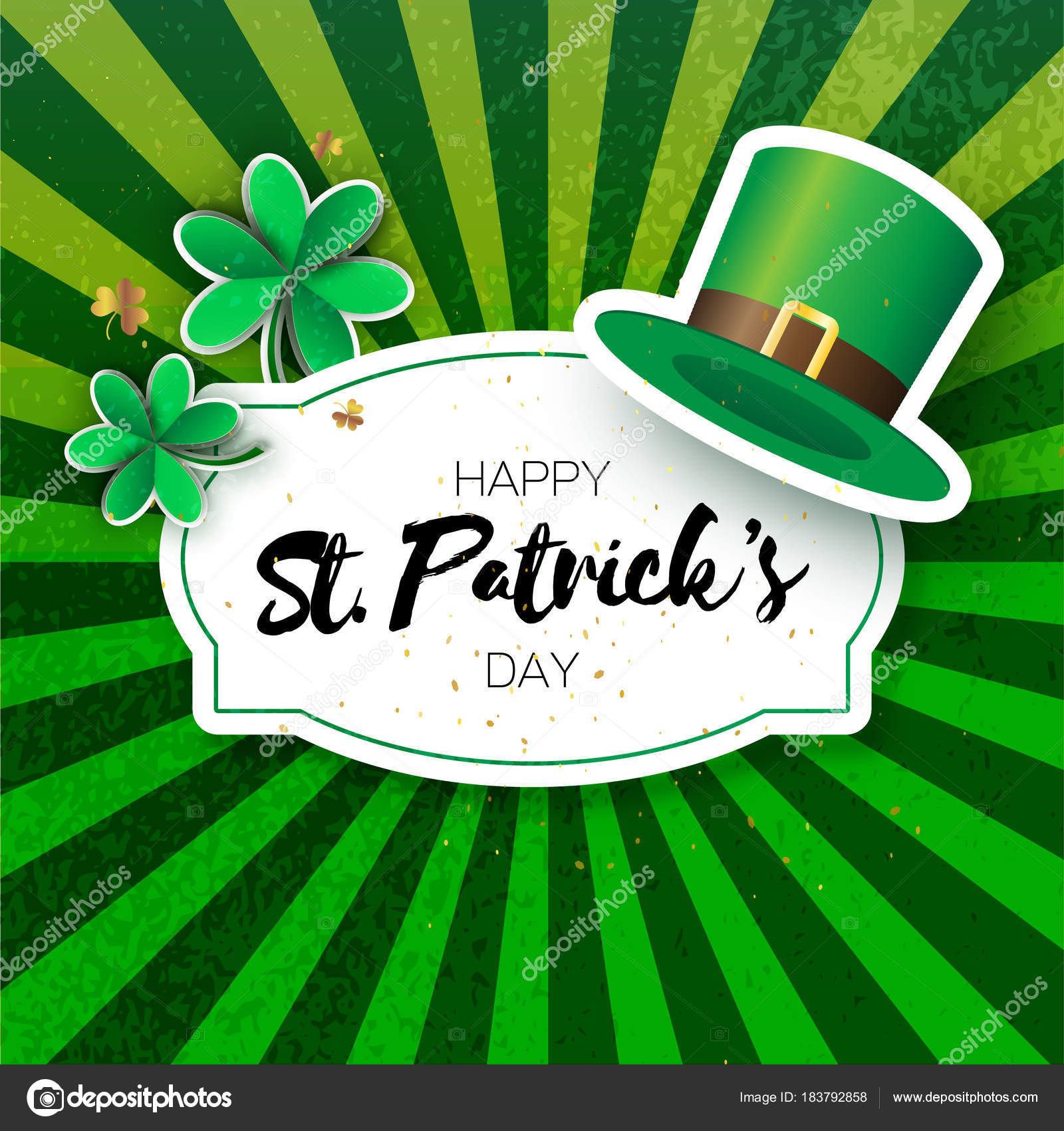 Happy St Patricks Day Greetings Card With Clover And Hat Origami