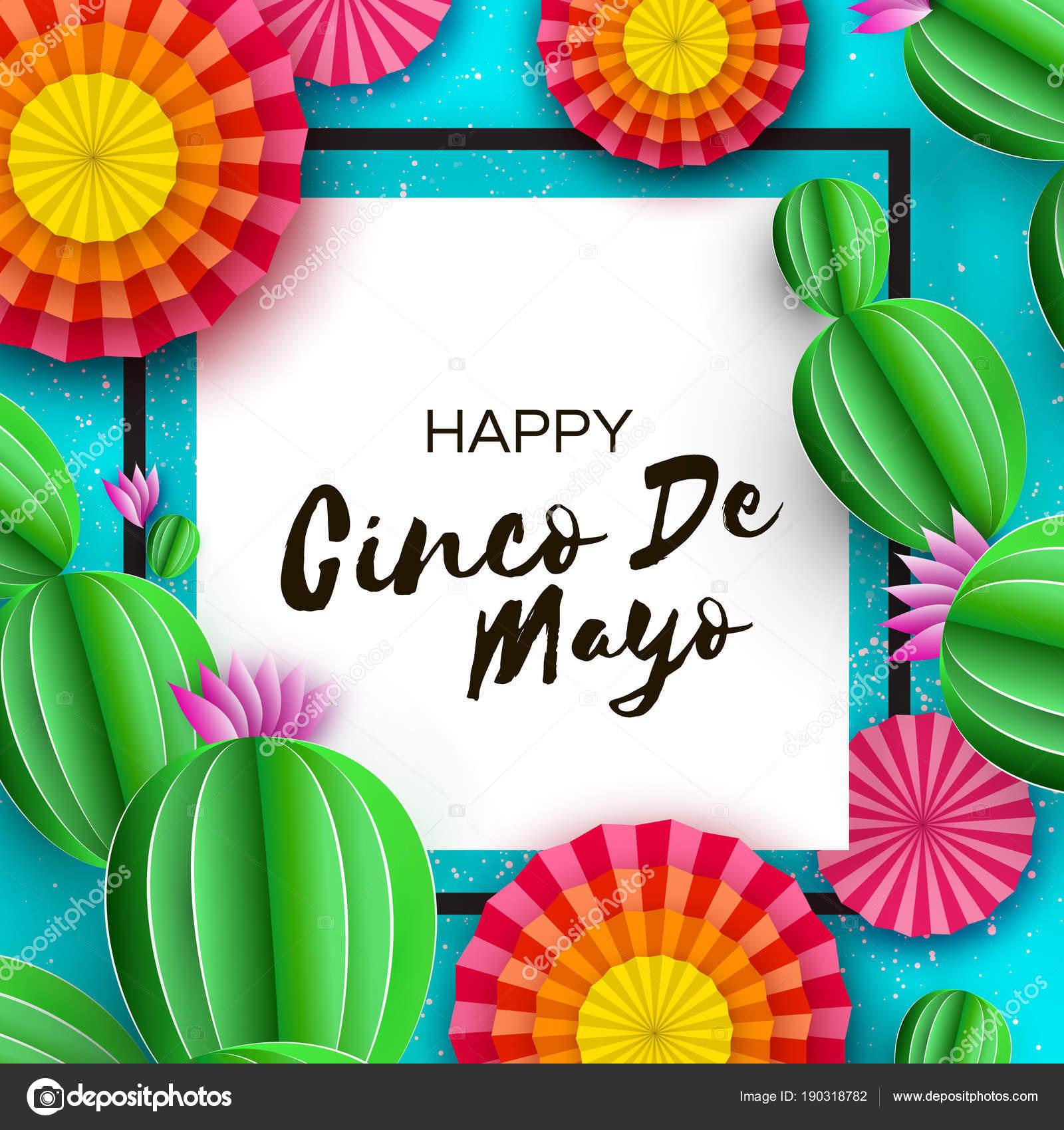 Tarjeta de felicitación del feliz Cinco de Mayo. Colorido abanico de ...