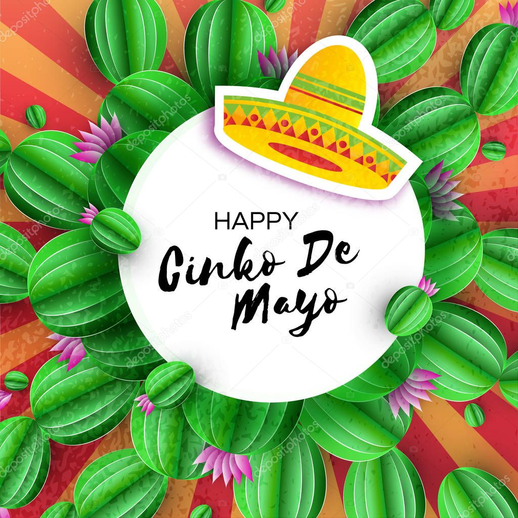 Sombrero hat, Cactus in paper cut style. Pink flowers. Happy Cinco de Mayo Greeting card. Mexico, Carnival. Circe frame on red. Space for text.