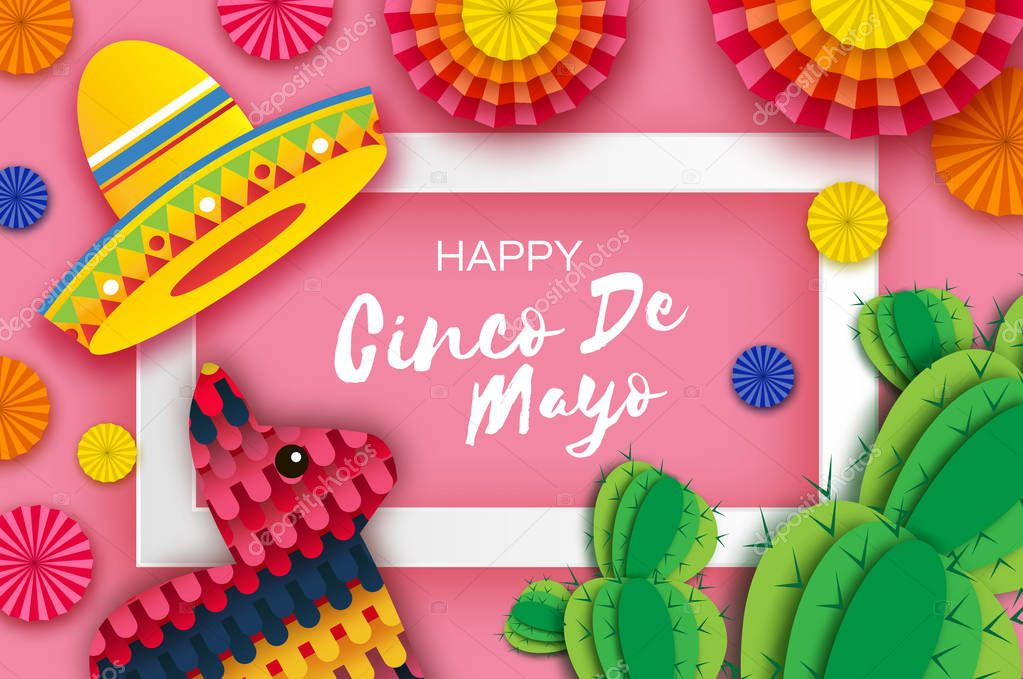 Happy Cinco de Mayo Greeting card. Colorful Paper Fan, Funny Pinata and Cactus in paper cut style. Origami Sombrero hat. Mexico, Carnival. Recangle frame on pink. Space for text.