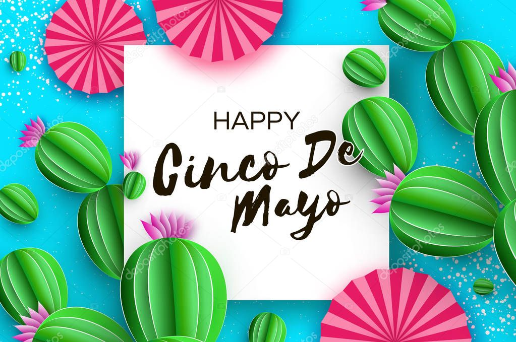 Happy Cinco de Mayo Greeting card. Pink Paper Fan and Cactus in paper cut style. Mexico, Carnival. Square frame on sky blue. Space for text.