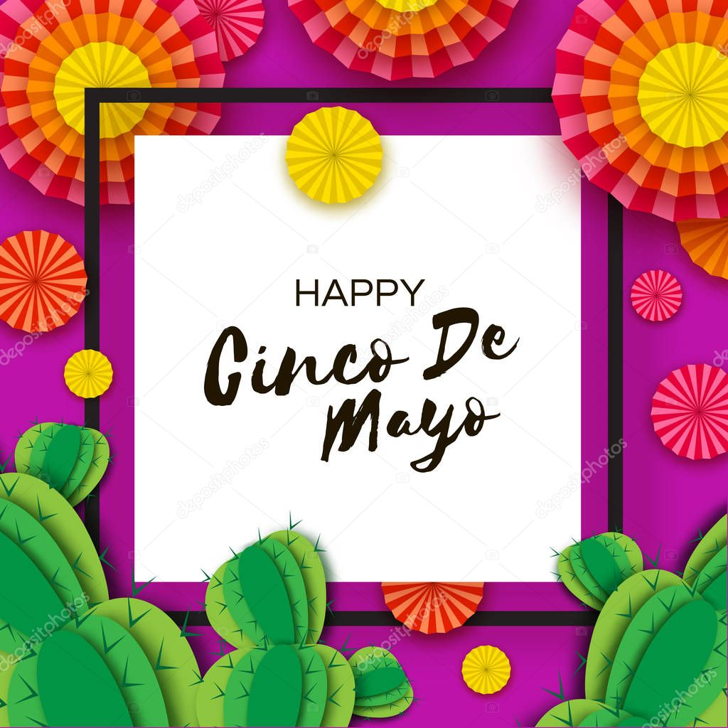 Happy Cinco de Mayo Greeting card. Colorful Orange Paper Fan and Cactus in paper cut style. Mexico, Carnival. Square frame on purple. Space for text.