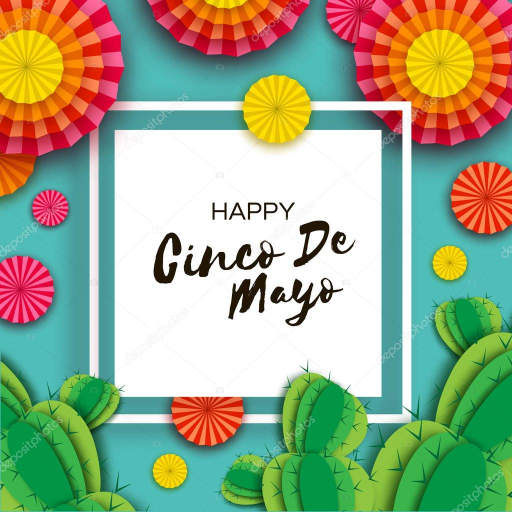 Happy Cinco de Mayo Greeting card. Colorful Orange Paper Fan and Cactus in paper cut style. Mexico, Carnival. Square frame on blue. Space for text.