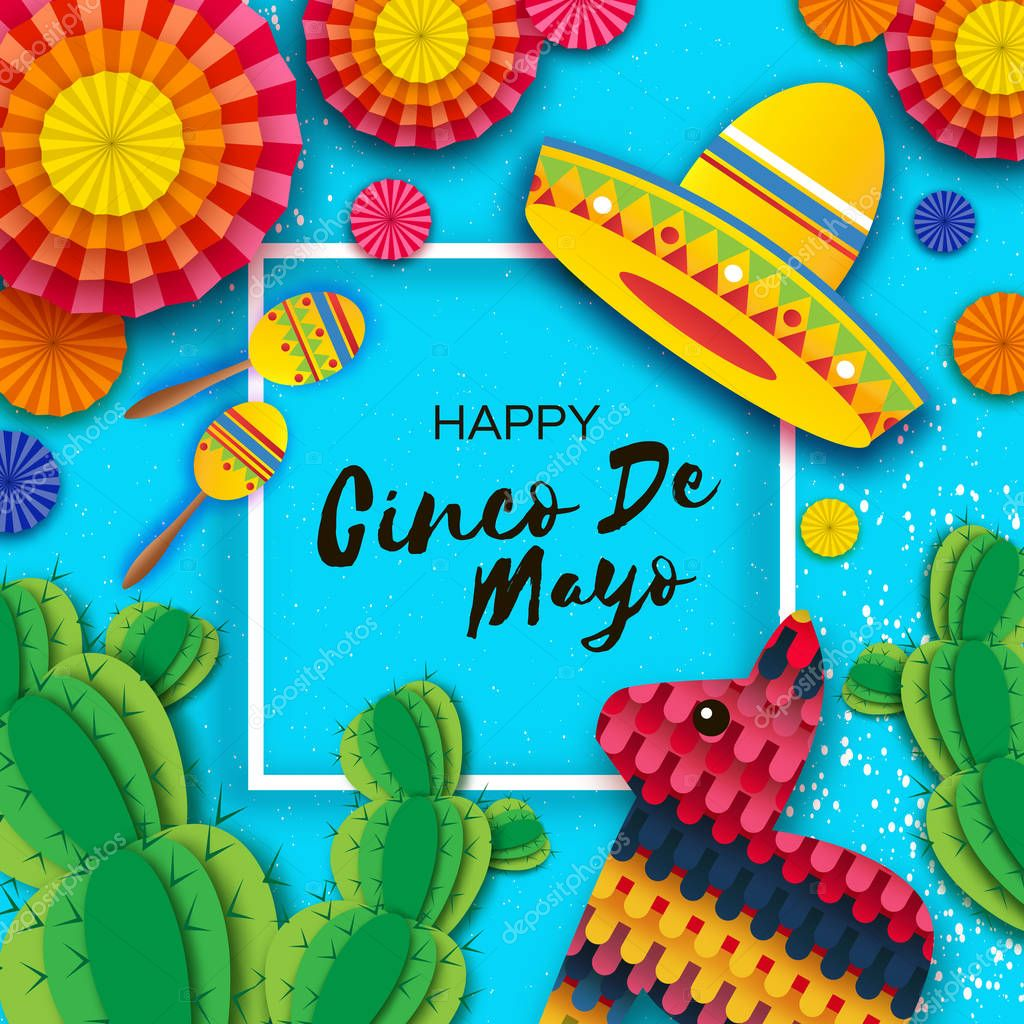 Happy Cinco de Mayo Greeting card. Colorful Paper Fan, Funny Pinata, Maraca and Cactus in paper cut style. Origami Sombrero hat. Mexico, Carnival. Music. Square frame on blue. Space for text.