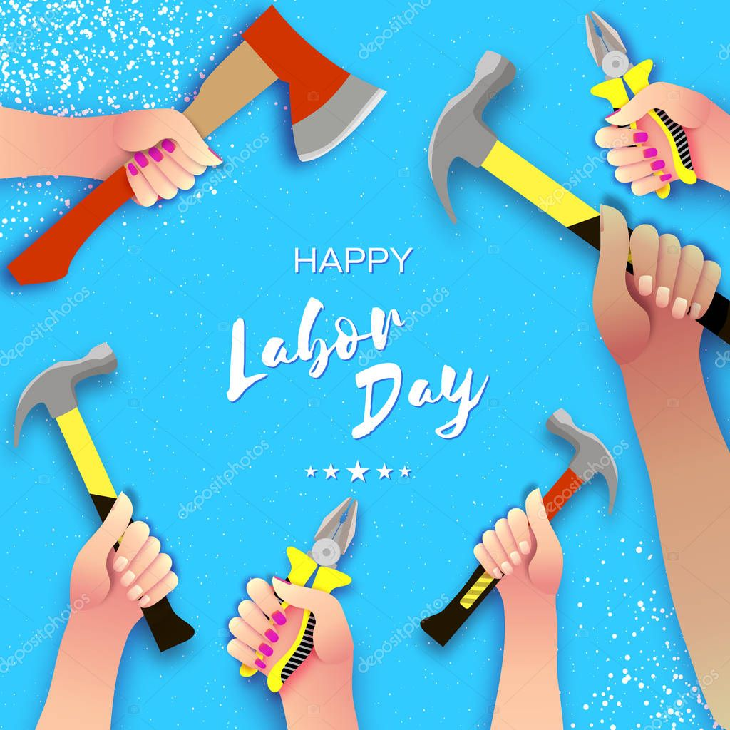Happy Labor Day greetings card for national, international holiday. Hands workers holding tools in paper cut styl on sky blue. Space for text. V