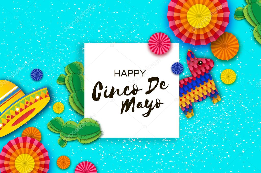 Happy Cinco de Mayo Greeting card. Colorful Paper Fan, Funny Pinata and Cactus in paper cut style. Origami Sombrero hat. Mexico, Carnival. Square frame on sky blue.
