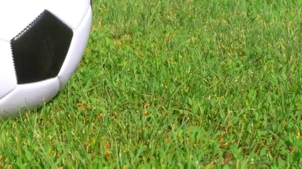 A zöld fű mező közelről a futball-labda. A kamera csúszkát mozgatja a labdát. Orosz bajnokság.