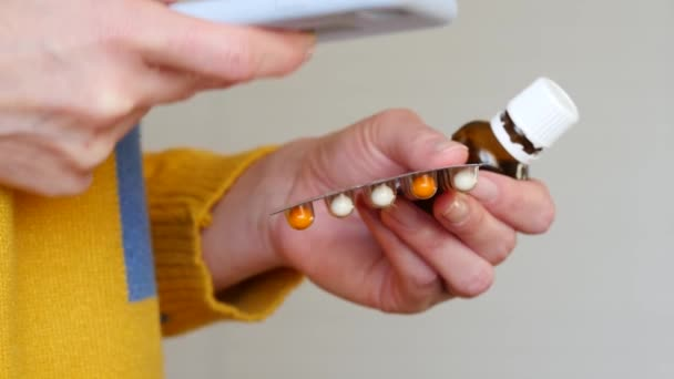 The girl uses a smartphone to order in the online store, pharmacy medicines, scanning the code.