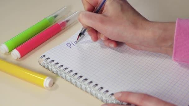 Eine Frauenhand hält einen Füllfederhalter und schreibt einen Plan in ein Notizbuch. das Geschäftskonzept, die Analyse und das Setzen von Zielen und Wünschen.