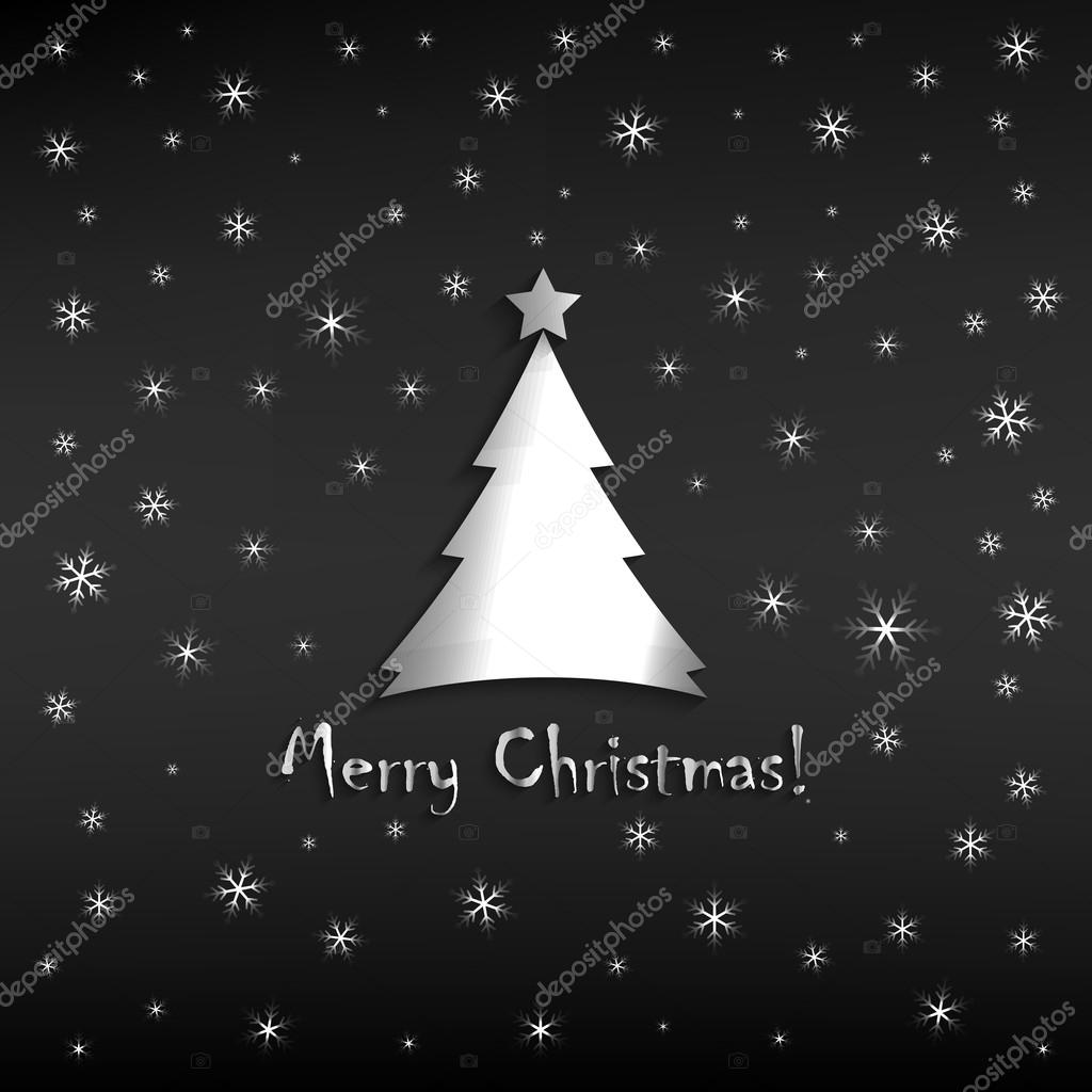 Merry christmas greeting card template simple silver snowflakes merry christmas greeting card template simple silver snowflakes and christmas tree design m4hsunfo