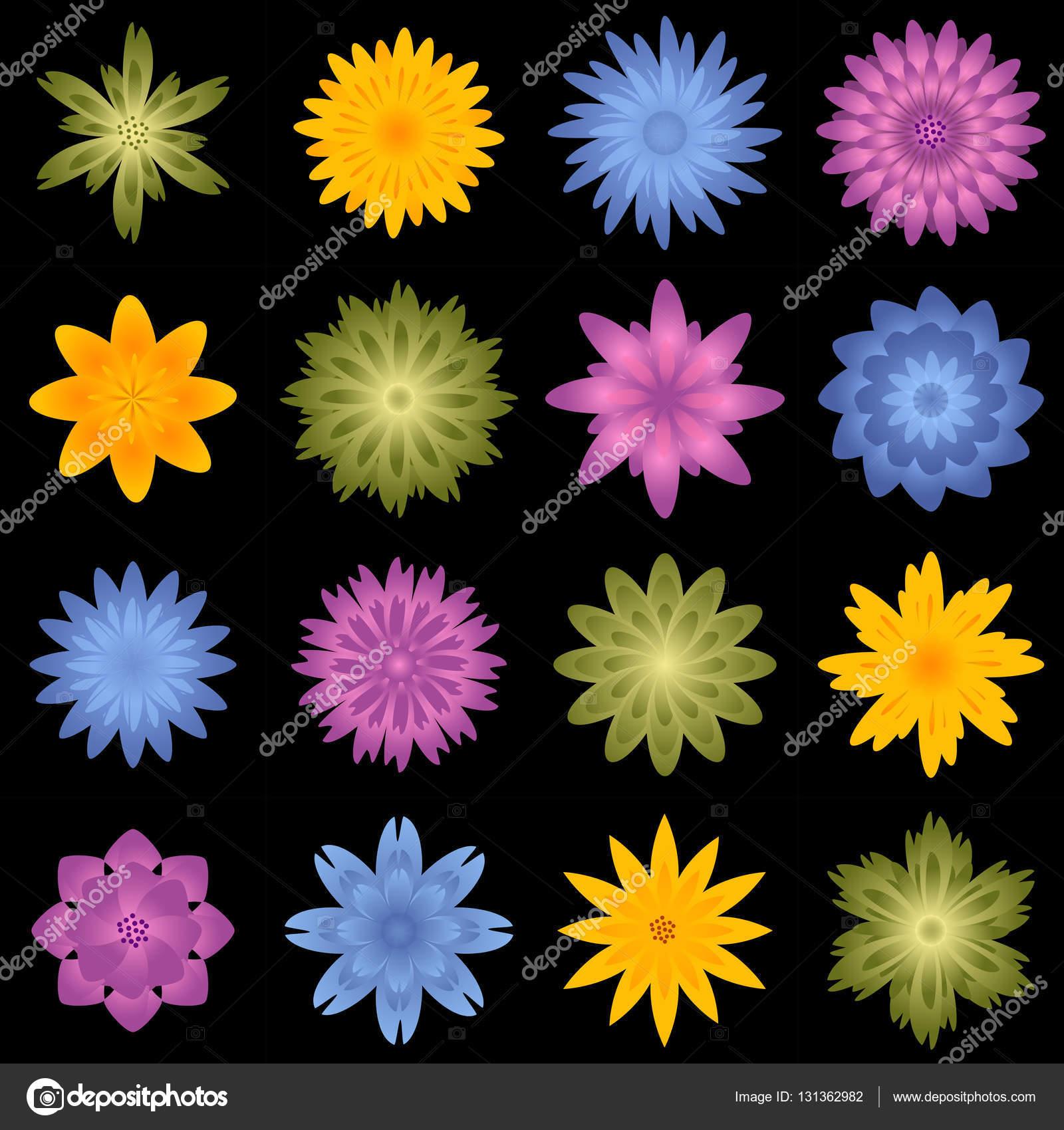Mehrere Blumen und Blüten - verschiedene Farben-Vorlage ...