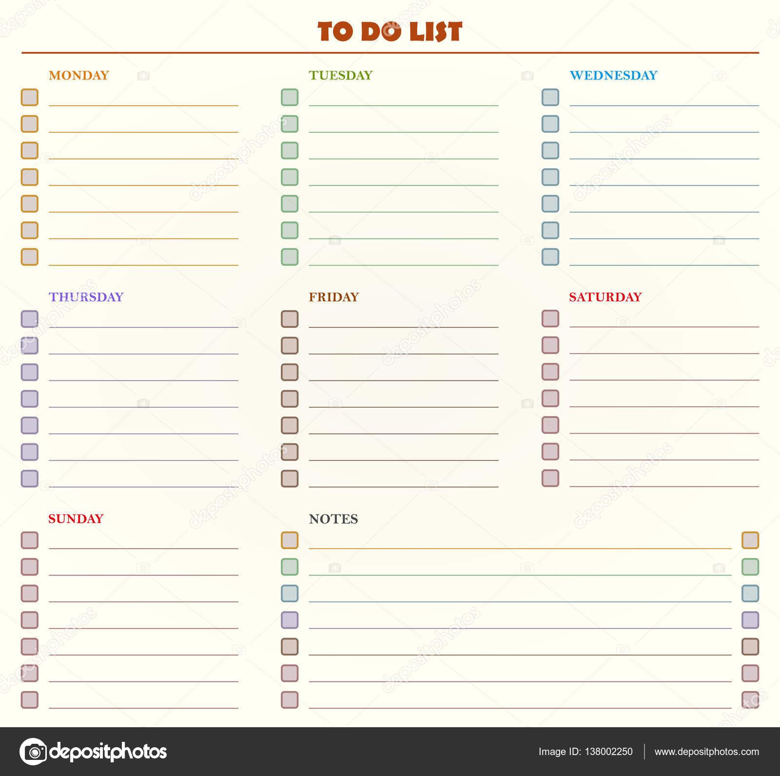 Aufgabenliste basierend auf wöchentliche Tage und Notizen ...