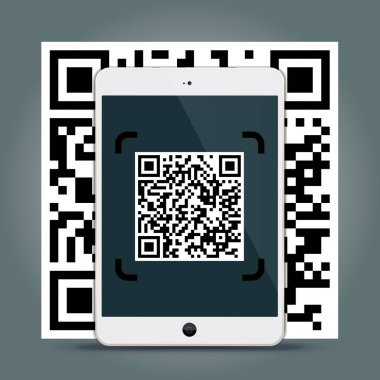 QR Codes decoding with a tablet - quick response code business infographic templat