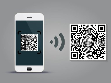 QR Codes decoding with a smartphone - quick response code business infographic template