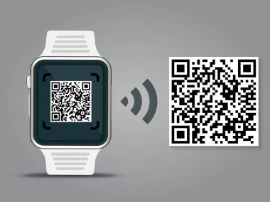 QR Codes decoding with a smartwatch - quick response code business infographic template