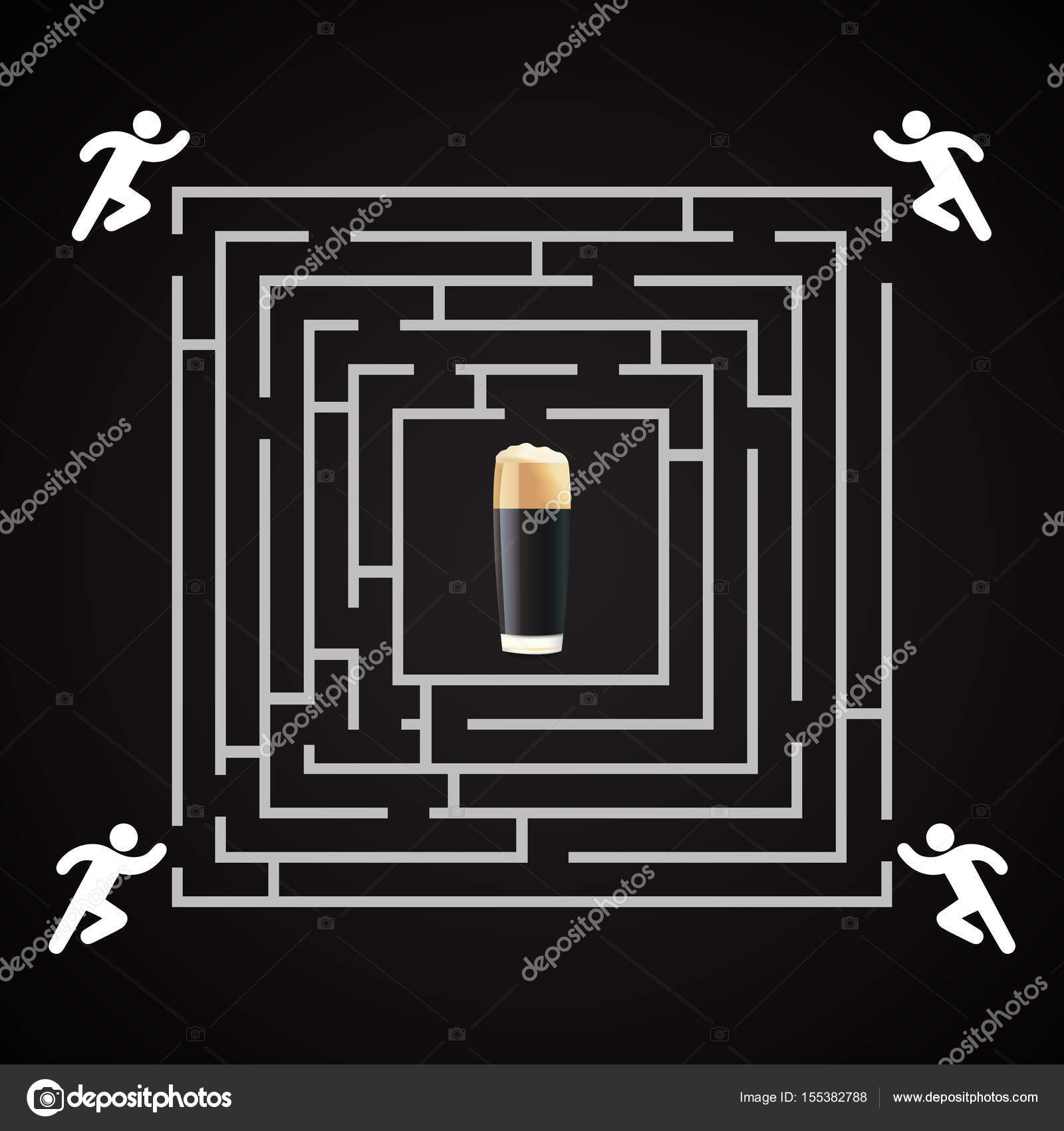 Beer labyrinth - man run for a glass of dark beer background ...