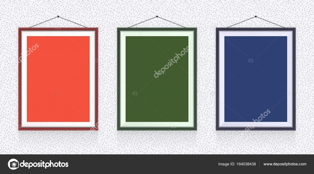 Different types of photo frames on the wall - background template ...