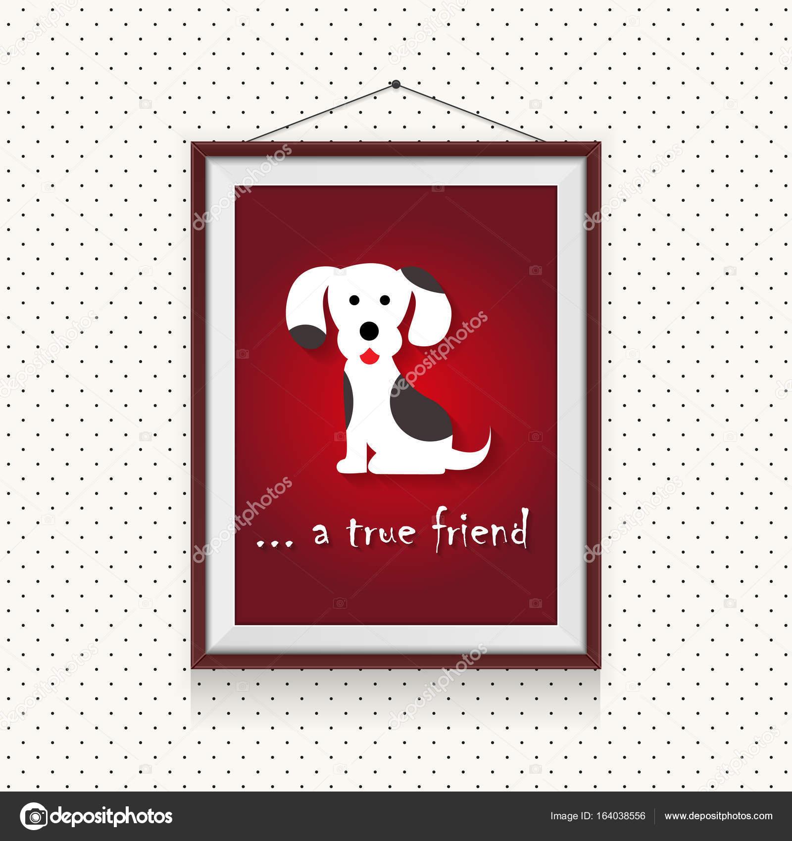Ein echter Hund Freund - lustige Cartoon Hund Bild in Bilderrahmen ...