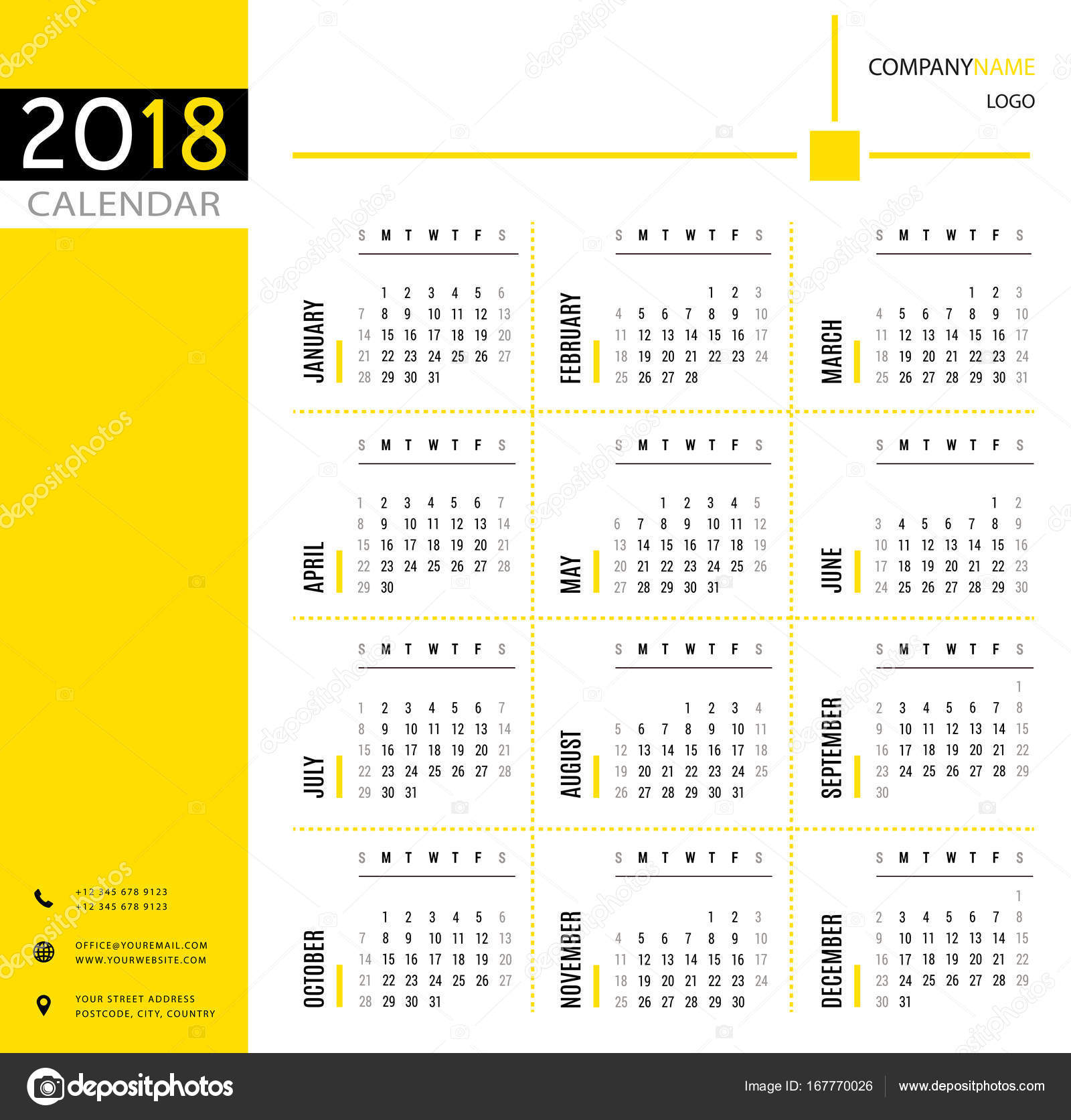 2018 calendar planner organizer and schedule template for companies and private use stock