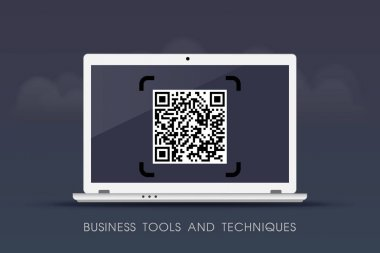 Business tools and techniques - QR Codes on laptop