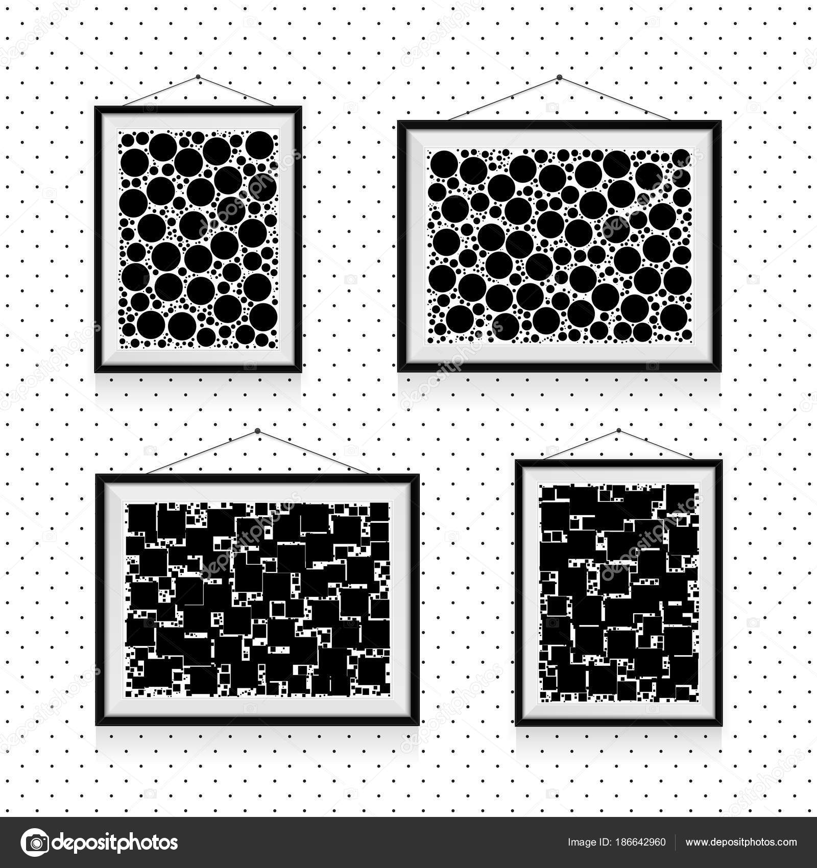Different Types Simple Photo Frames Circles Squares Wall Black White
