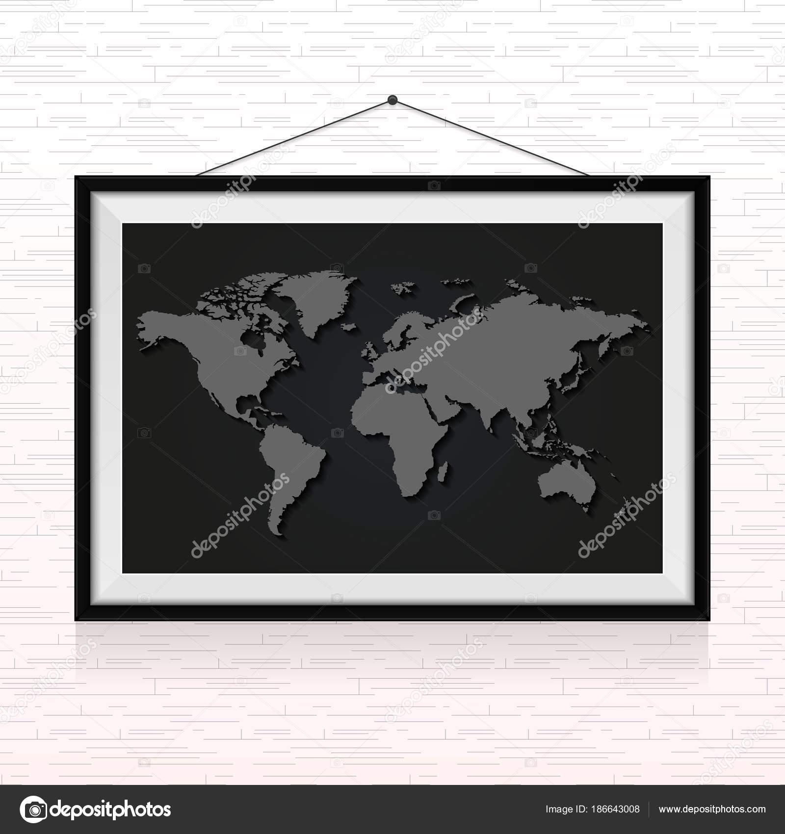Mapa Del Mundo Marco Foto Colgado Pared — Vector de stock ...