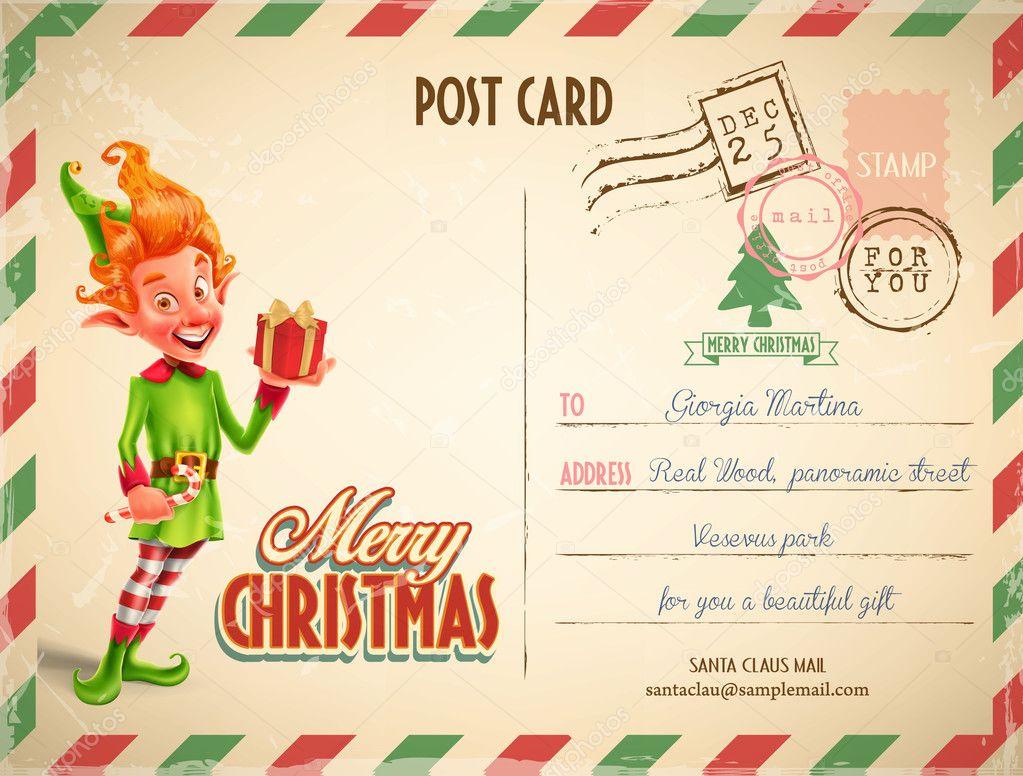 クリスマスはがきテンプレート ストックベクター mollicart 128104558