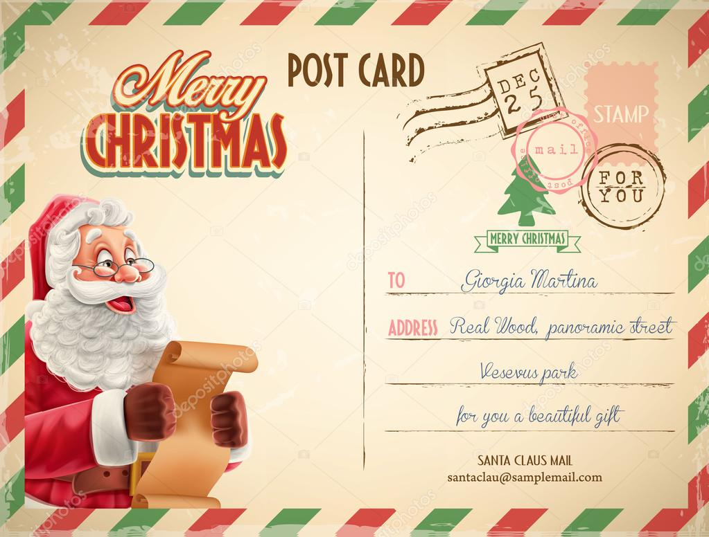 Christmas Postcard Template Stock Vector Mollicart - Christmas postcard template