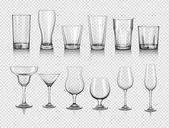 realistické prázdných sklenic sada