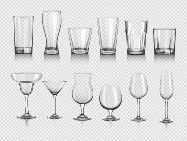 realistic empty glasses set