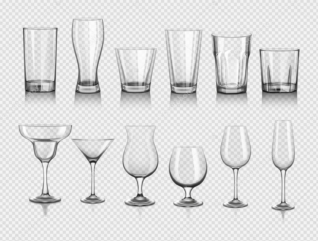 realistic empty glasses set