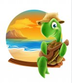 turtle on the beach holdinfg guitar