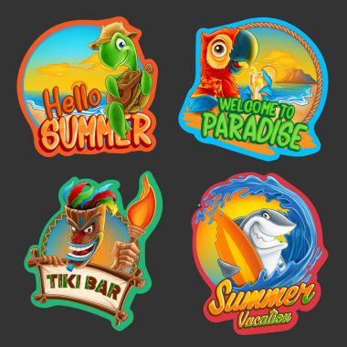 summer cartoon stickers