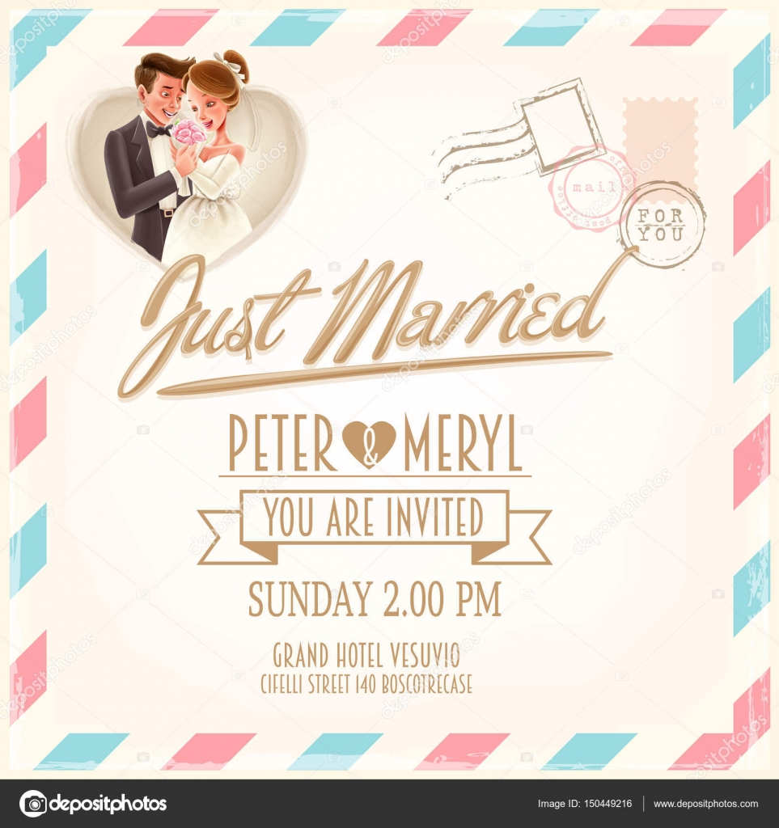 Couple on wedding card — Stock Vector © mollicart