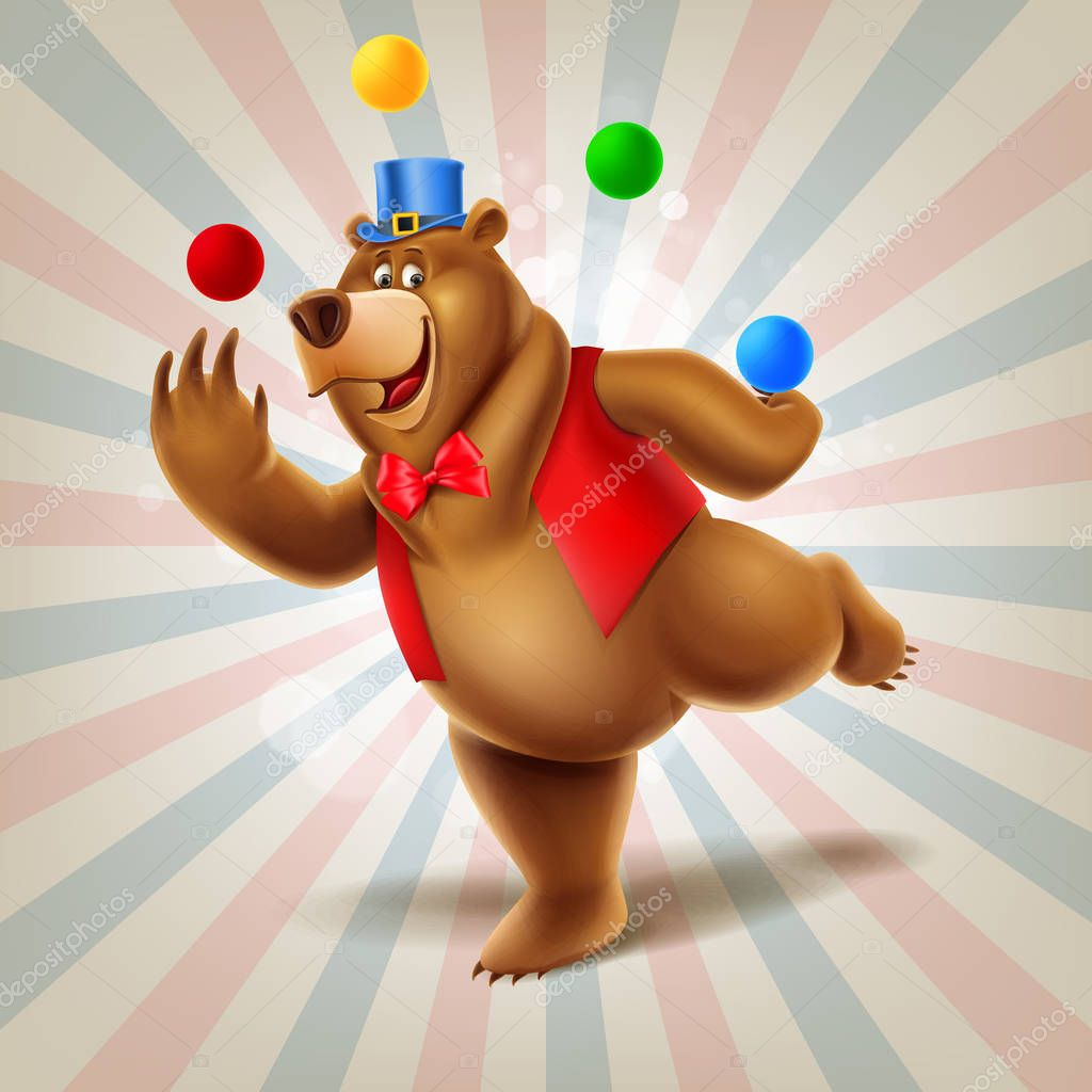 нового картинка медведь жонглер поворотный кулак запрессован