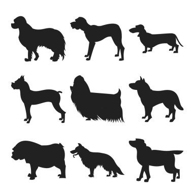 Set of dogs black silhouette
