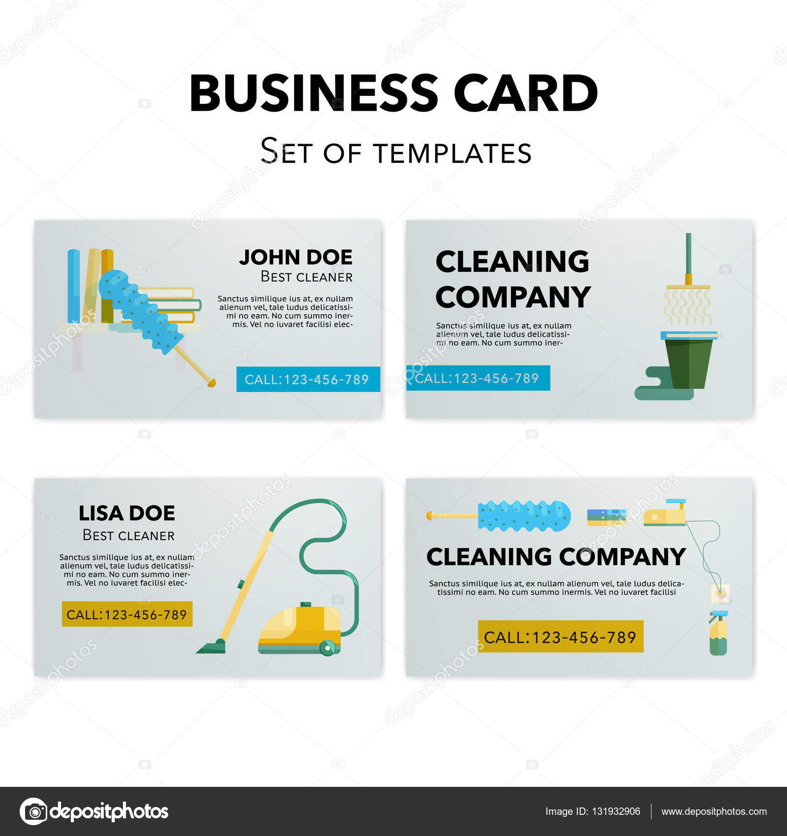 Cleaning company business cards set stock vector wonderstasy cleaning company business cards set stock vector colourmoves