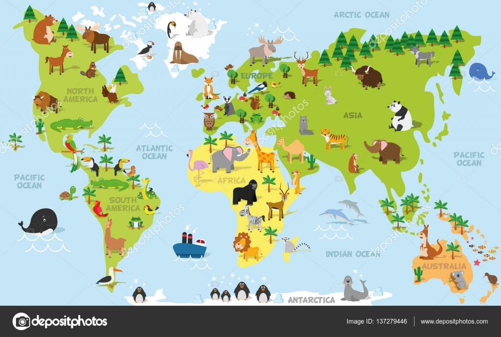 Mapamundi De Divertidos Dibujos Animados Con Animales