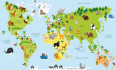 Fotografie Funny cartoon world map with traditional animals of all the continents and oceans. Vector illustration.