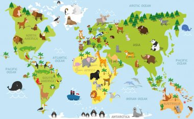 Funny cartoon world map with traditional animals of all the continents and oceans. Vector illustration.