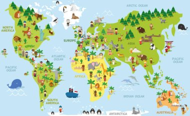 Funny cartoon world map with childrens of different nationalities, animals and monuments of all the continents and oceans. Vector illustration.