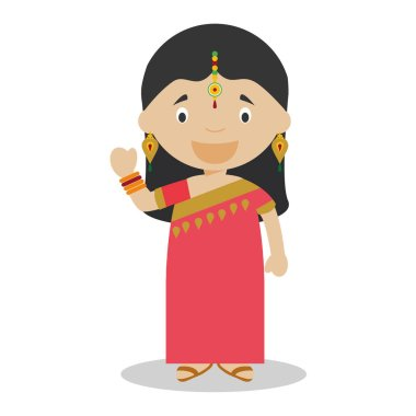 Character from India. Indian girl dressed in the traditional way with sari. Vector Illustration. Kids of the World Collection.