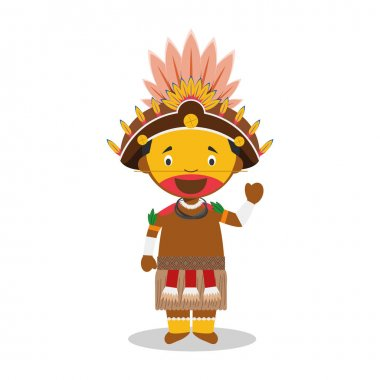 Character from Papua New Guinea (Dani Tribe) dressed in the traditional way Vector Illustration. Kids of the World Collection.