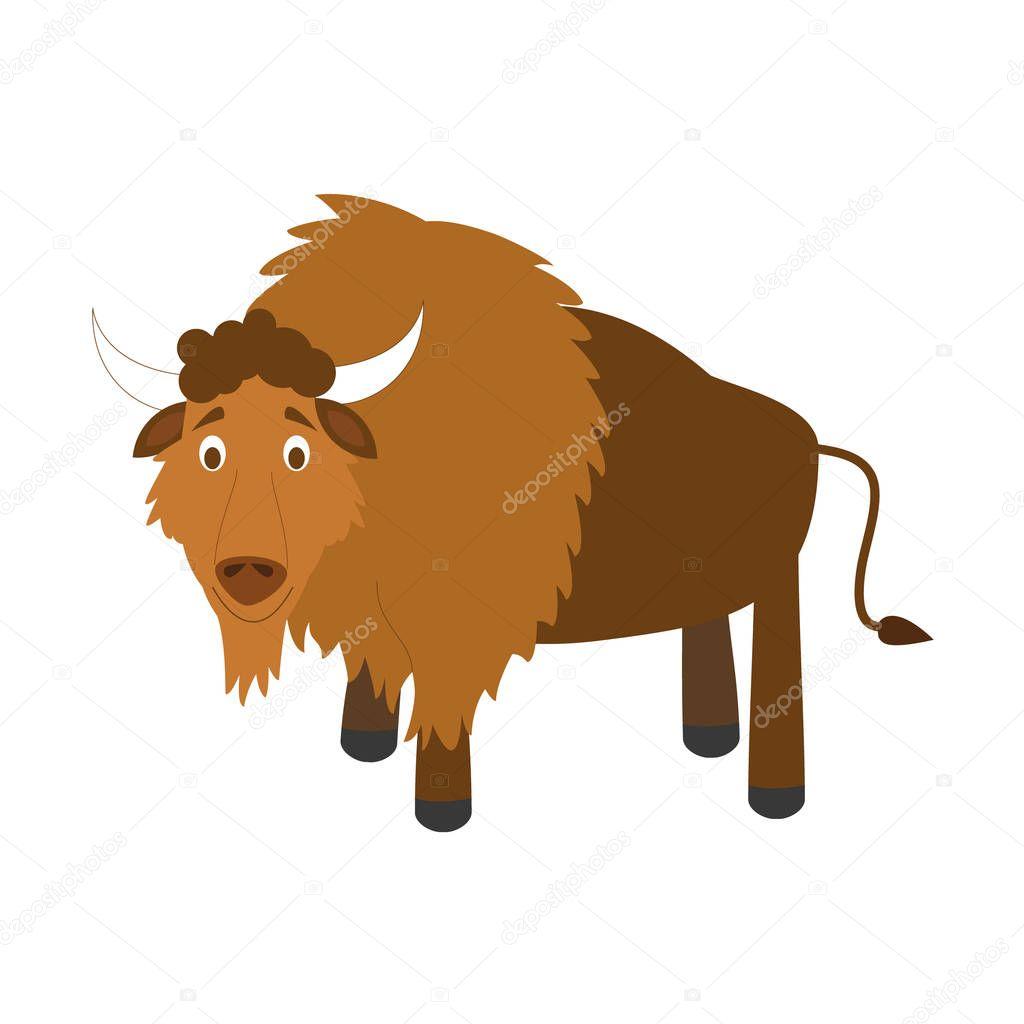 Buffalo de dessin animé mignon vector illustration — Image ...