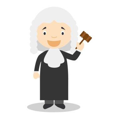 Cute cartoon vector illustration of a judge