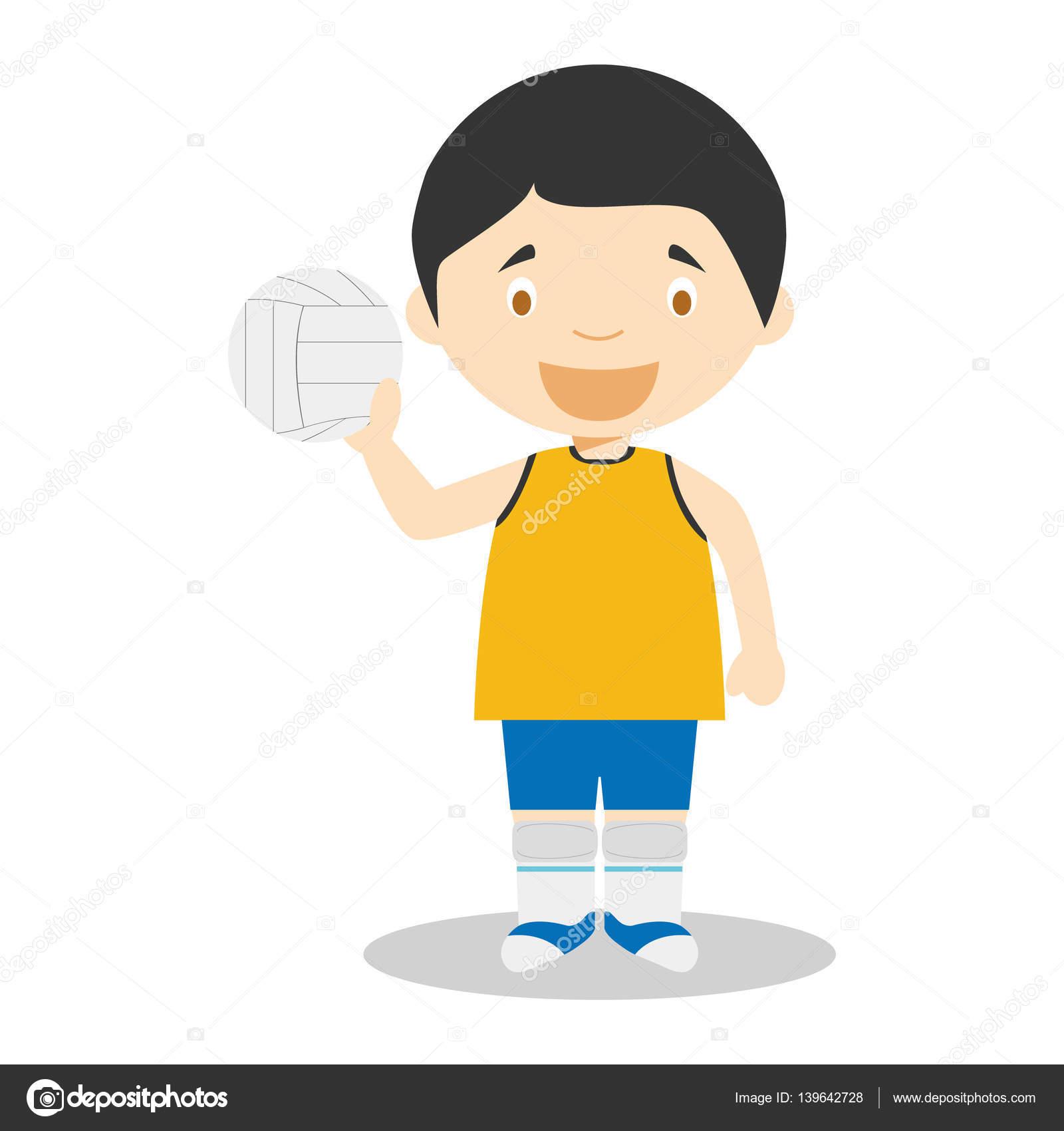 Sportovni Kreslene Vektorove Ilustrace Volejbal Stock Vektor